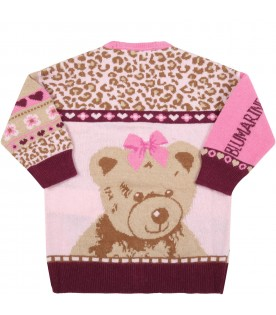 Multicolor cardigan for baby girl with hearts