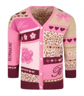 Multicolor cardigan for girl with hearts