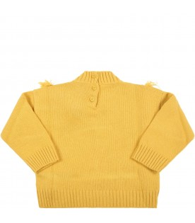 Yellow sweater for beby girl with pom-pom