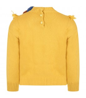 Yellow sweater for girl with pom-pom