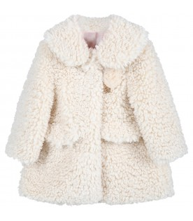 Ivory coat for baby girl with rose
