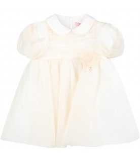 Gold dress for baby girl with rose