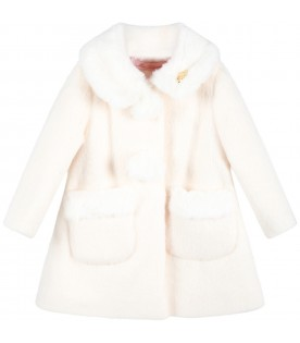 Ivory coat for baby girl with loog