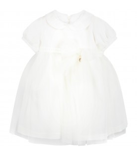 White dress for baby girl with bow
