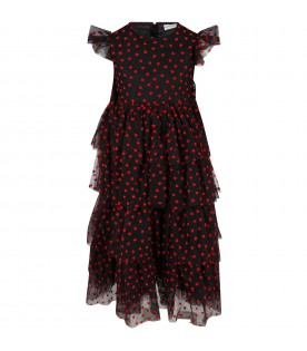 Black dress for girl with red hearts