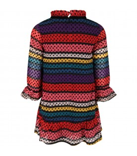Multicolor dress for girl with stars