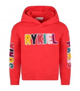 Red sweatshirt for girl with colorful logo