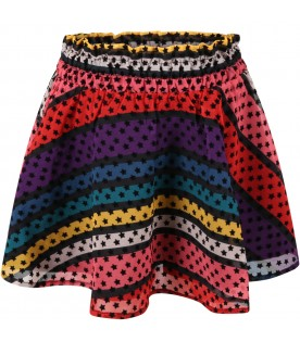 Multicolor skirt for girl with stars