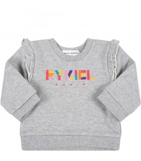 Grey tracksuit for girl with logo