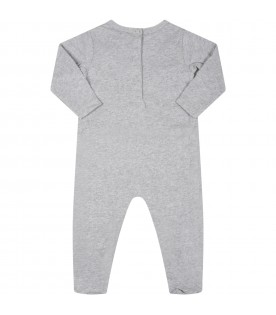Grey babygrow for baby girl with world