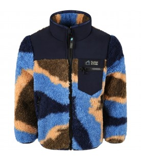 Multicolor jacket for boy with logo