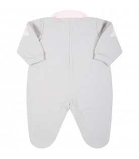 Grey babygrow for baby girl with stars