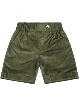 Green short for baby boy with logo