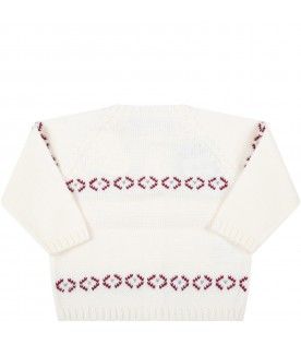 Ivory cardigan for baby kids with embroideries