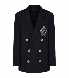 Blue jacket for boy with patch