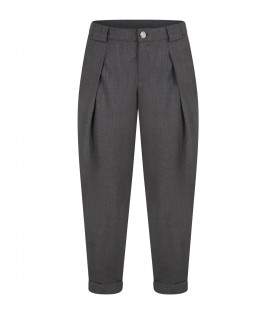 Grey trousers for kids with logo