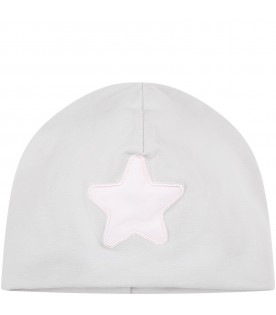 Grey hat for baby girl with star