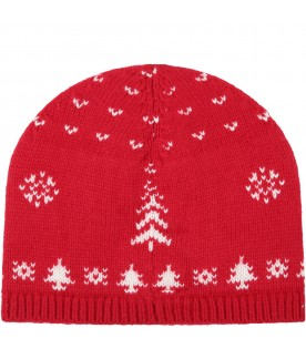 Red hat for kids with reindeers