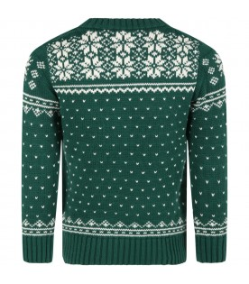 Green sweater for kids with reindeers