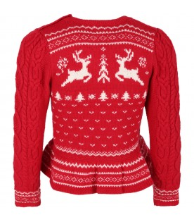 Red sweater for girl with reindeers