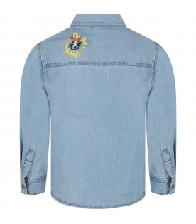 Light blue shirt for boy with cats