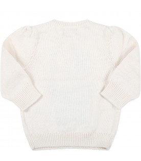Ivory sweater for baby boy with iconic bear and red logo