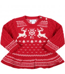 Red sweater for baby girl with Christmas details