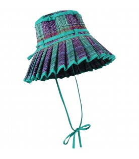 Green Capri-hat for girl with purple details