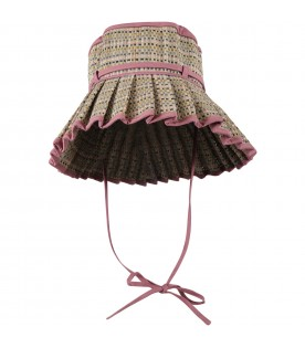 Pink Capri-hat for girlw with beige details