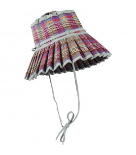 Multicolor Capri-hat for girlw with fuchsia details