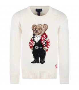 Ivory sweater for kids with bear