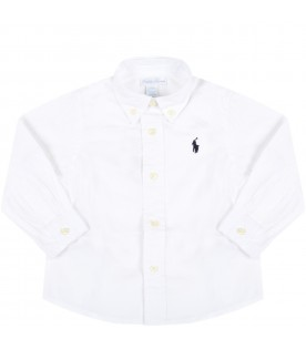 White shirt for bebè  boy with blue iconic pony
