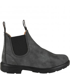 Grey boots for boy with logo