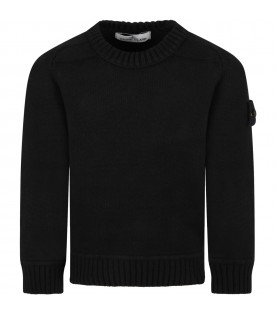 Black sweater for boy with iconic compass