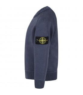 Blue sweater for boy with iconic compass