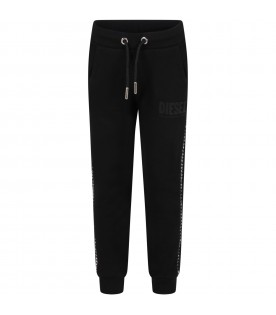 Black sweatpant for girl with logo