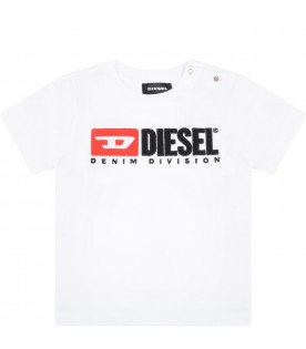 White t-shirt for baby boy with logo