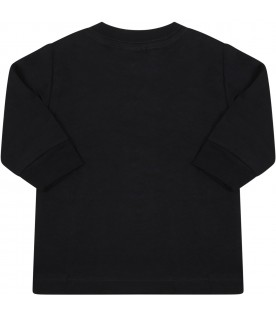 Black t-shirt for baby boy with logo