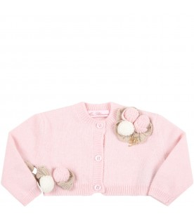 Pink cardigan for baby girl with roses