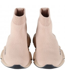 Beige sneakers for kids with logo