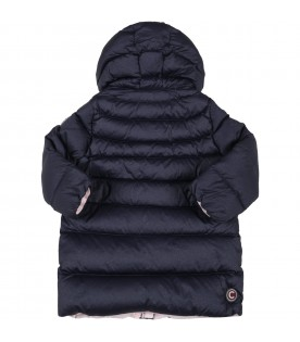 Blue jacket for baby girl with logo