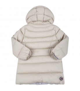 Beige jacket for baby girl with logo