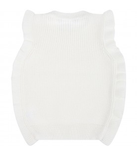 Ivory vest for baby girl with ruffles