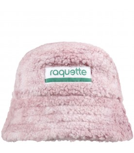 Pink bucket hat for kids with logo