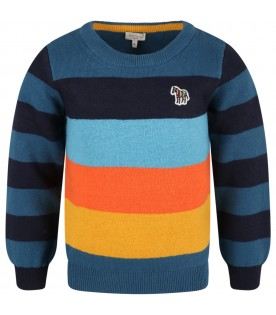 Multicolor sweater for baby boy with zebra