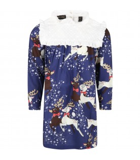 Blue dress for girl with reindeer and stars