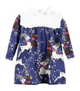 Blue dress for baby girl with reindeer and stars