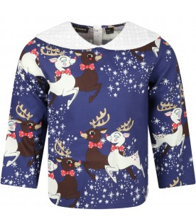 Blue blouse for girl with reindeer and stars