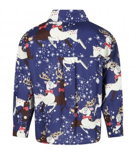 Blue shirt for kids with reindeer and stars
