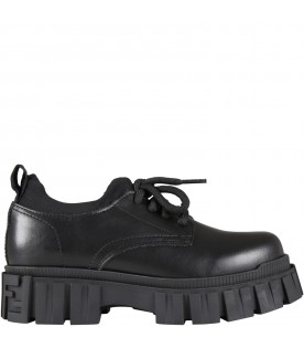 Black shoes for kids with double FF